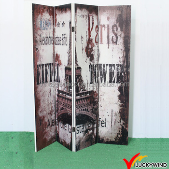 "Room Divider Partition Amusing Paris"" Vintage 4 Panel Folding Room Divider Partition  Buy Room Design Decoration"