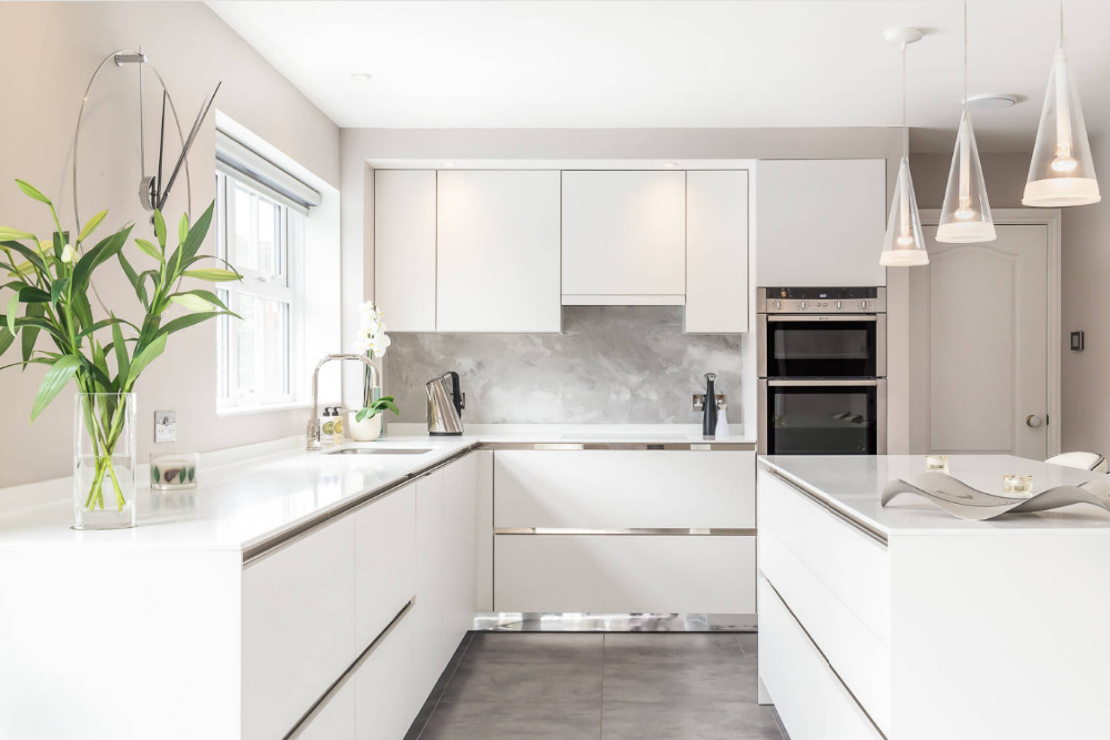 New Trend Modern Kitchen Cabinets In All White Flat Panel ...
