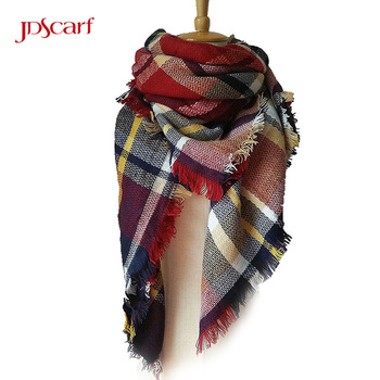 Custom logo women winter new long jacquard cashmere wool scarf plaid pashmina hijab blanket shawl scarf