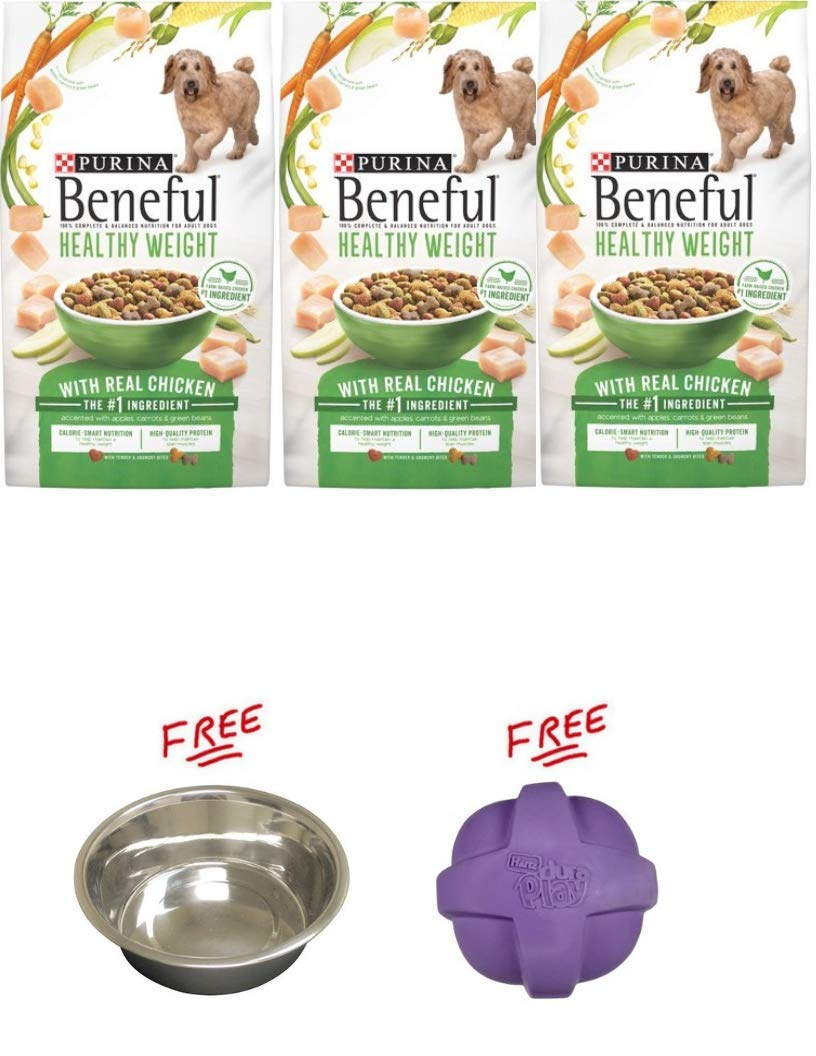 Purina Beneful Pack of 3 Healthy Weight with Real Chicken Adult Dry Dog Food (6.3 lb. Bag) with Free! Buy More, Save More!
