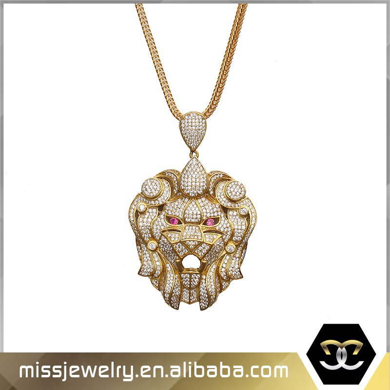 Missjewelry ID MJHP058 Street Style Mesh Back Iced Out Cz Pave Lion Head Silver Pendant with rhineston eyes & crown
