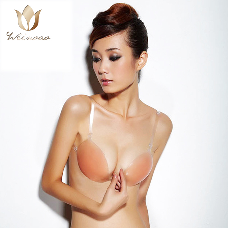 fef392051d Get Quotations · New Sexy Lady s Girls strappy bra Silicone Adhesive Stick  On Gel Push Up Backless Bra Cup