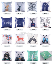 Fashion printed latest design cushion cover handmade decorative home sofa linen cotton panda pillow cover