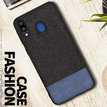 Dual Color Denim Cloth +PU Leather Material Anti-Scratch Shockproof Bumper Simple Style Cover Case for samsung galaxy M20