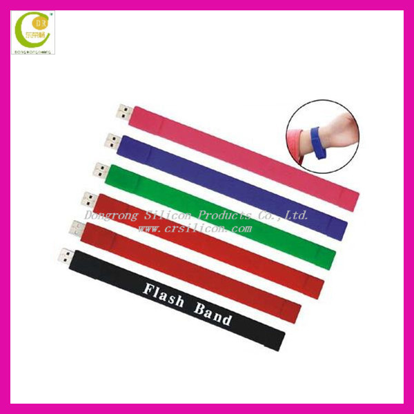 Cheapest design silicone wristband usb flash drive printed letters for business advertising