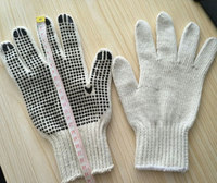7G cotton knitted PVC dotted gloves large size exported to Gernamy