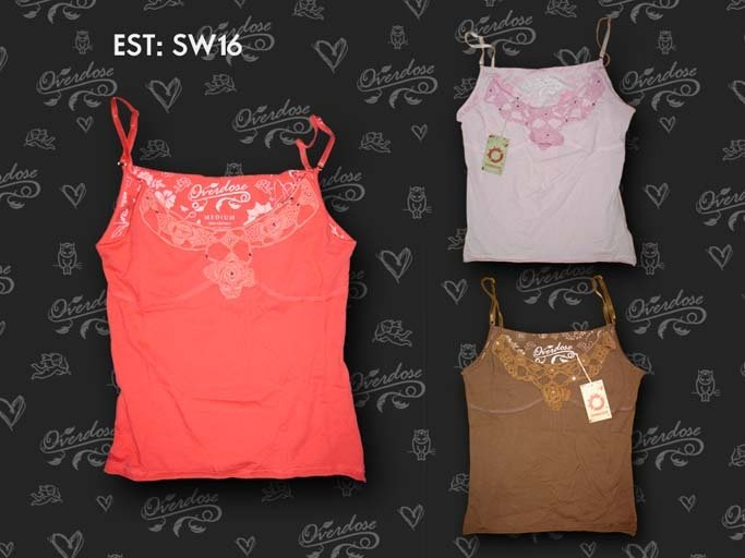 Top 100% Cotton + hand working crochet + Strass tank tops