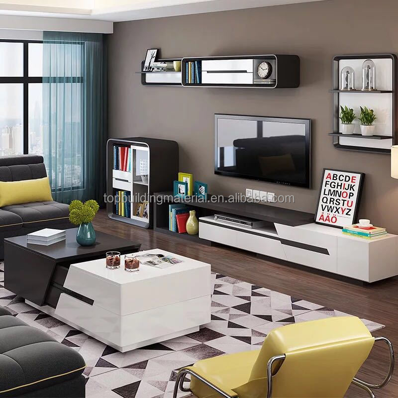 Modern black and white Tv stand scalable TV cabinet