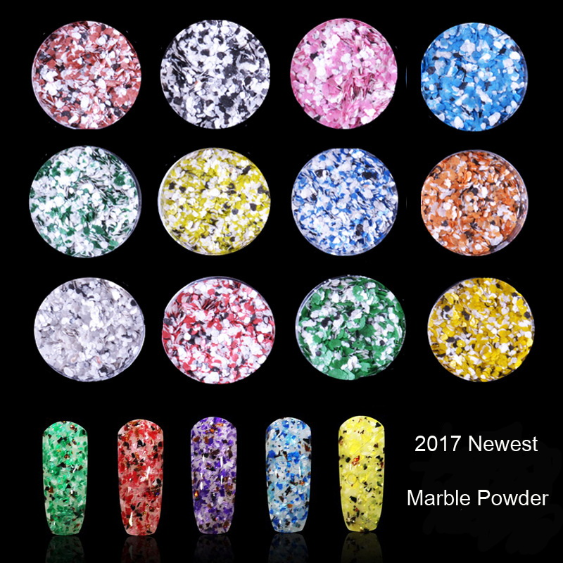 Newest 3g Colorful Glitter Powders Marble Glitter Nail Powder For ...