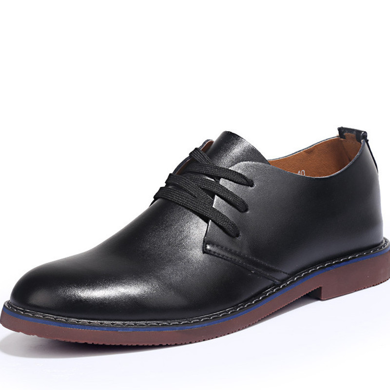 New 2015 Mans Oxfords Shoes Fashion Dress Office Leather Shoes Man Casual Massage Comfortable Man Shoe Spring Autumn Black 7-9.5
