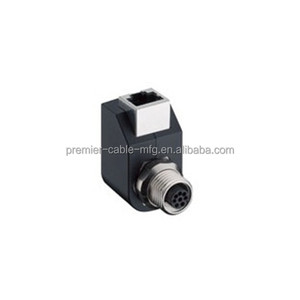 RJ45/M12 adaptor- female receptacle connector- 8 pin M12 standard codingchassis side thread PG9 RJ45 female connector 90 degree