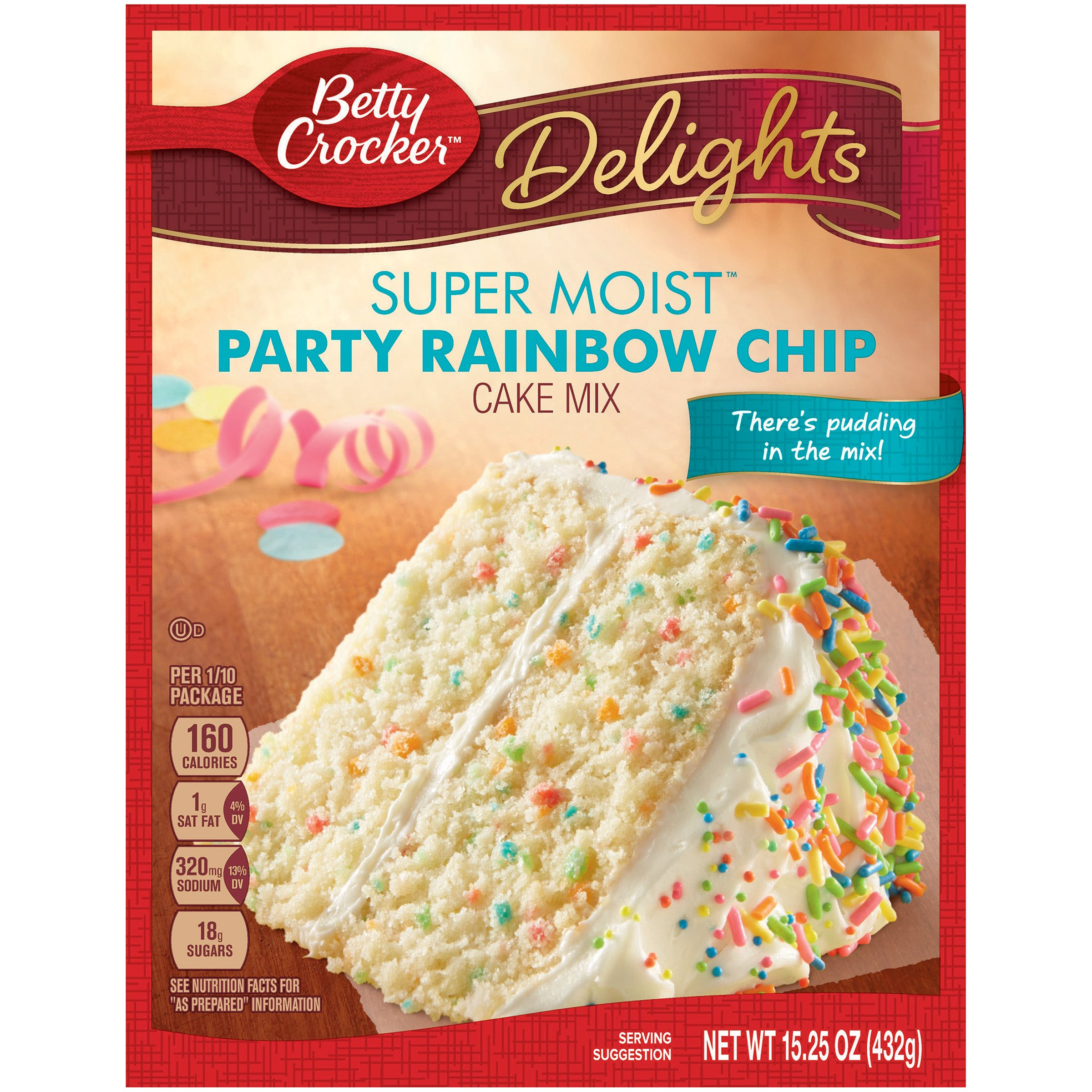 Betty Crocker Delights Super Moist Party Rainbow Chip Cake Mix 15.25 oz (Pack of 2)