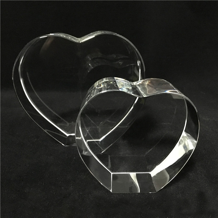 2D/3D PHOTO laser engrave Heart shape crystal for wedding gift