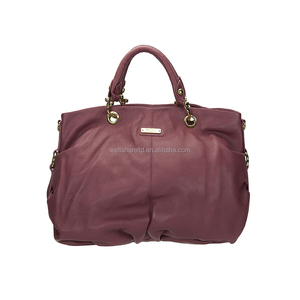 Retail Low Price Waterproof Genuine Leather Fuchsia Chain Shoulder Ladies Bag Handbag with Straps