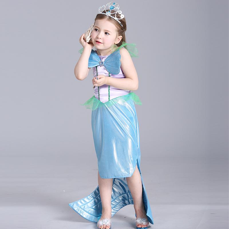 2016 New Baby Girl font b Dress b font Princess Mermaid Style Fish Fin Decoration Kid