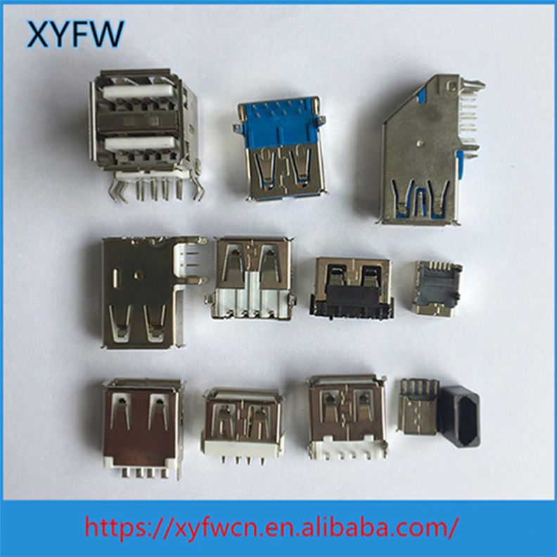 High Quality 4 Bend Pin Female Of Usb Connector Parts