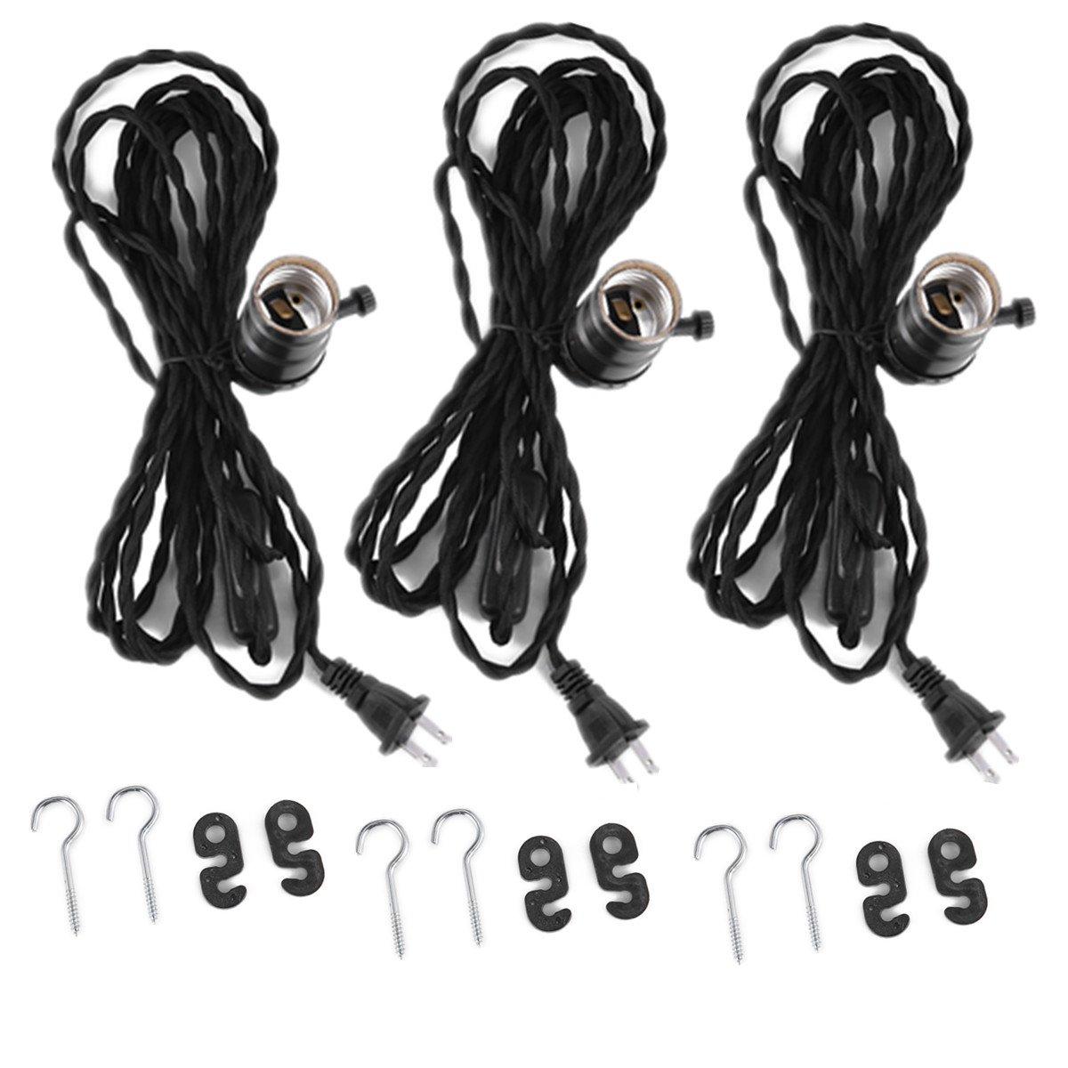 Cheap E26 Cord Lamp Socket Find Deals On Line Wiring Kits Get Quotations Fadimikoo E27 Vintage Edison Hanging Textile Pendant Light 147ft Kit