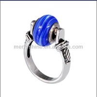European glass beads ring 925 sterling silver ring S-5