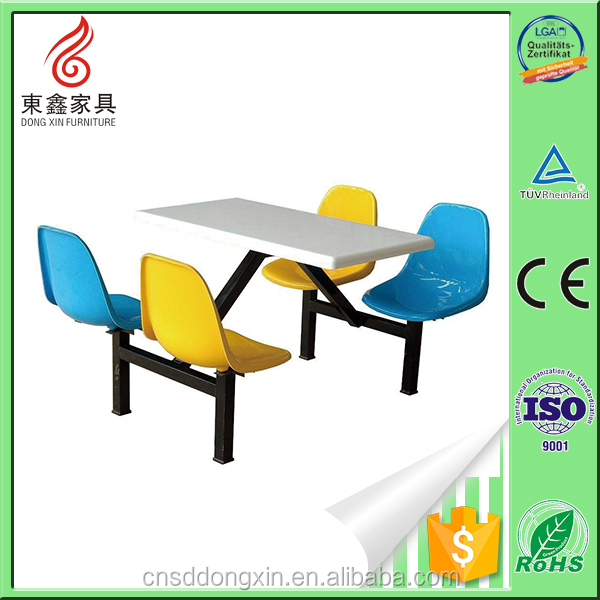 Fireproof material plastic fast food table and chairs
