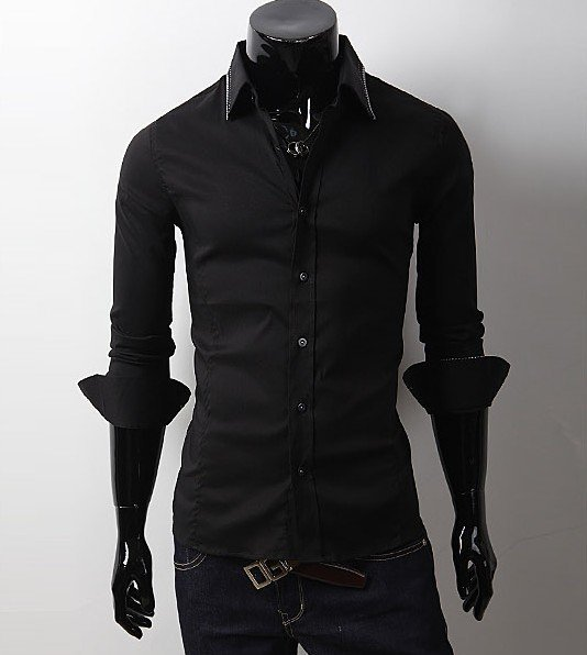 Custom Mens Black Button Down Shirt Button Collar - Buy Black ...