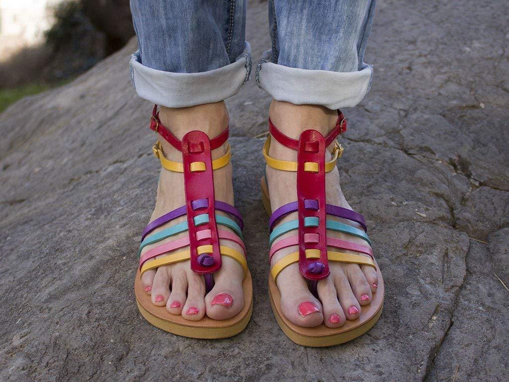 Gladiator Sandals, Handmade Leather Sandals, Multicolored Sandals, Strappy Sandals, Double Ankle Strap Sandals - BONBON