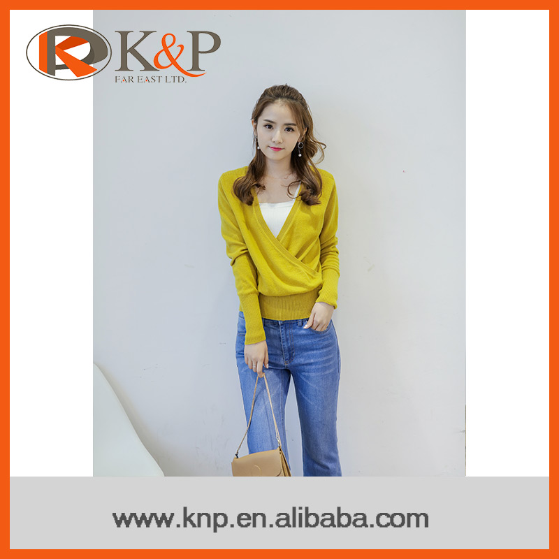 Soft texture knitted long sleeve ladies cashmere sweater pullover
