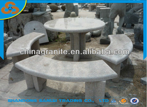Outdoor Patio Stone Garden Table And Benches Set For Sale