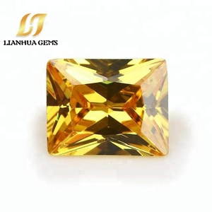 Buy wuzhou factory direct synthetic rectangle cz fake golden yellow stones raw cubic zirconia for jewelry decoration