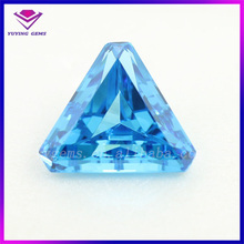 Aqua Triangle Shape Step Cut Synthetic Cubic Zirconia Loose Synthetic CZ Stone