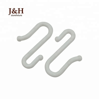 J&H Storefixture Pop Ceiling Rack Pegboard S Hook Multi-Functional Colorful White Convenient Plastic S Shaped Hanger Hook
