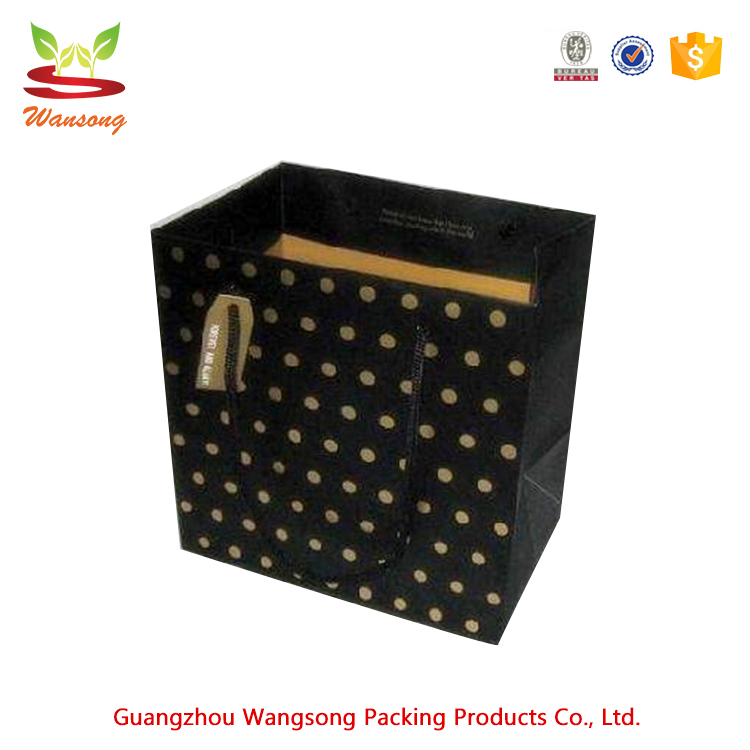 fashion high quality hot sale black paper gift bags reusable machine making shopping paper carry bags