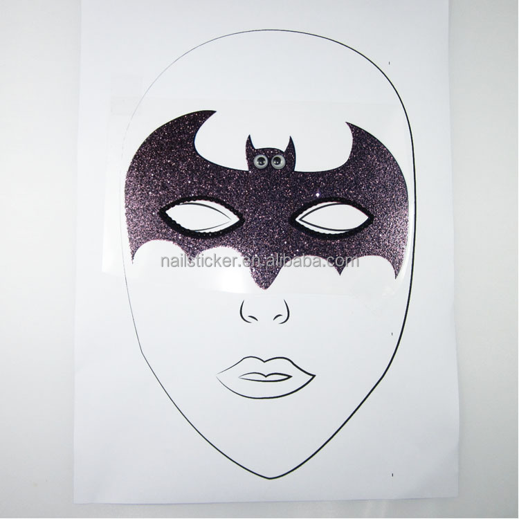 Wholesale Halloween cartoon Batman glitter temporary face tattoos kids decorative face sticker with movable eyes