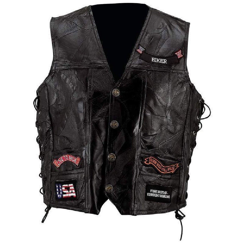 Mens Black Leather Motorcycle Vest W/ 14 Patches Us Flag Eagle Biker