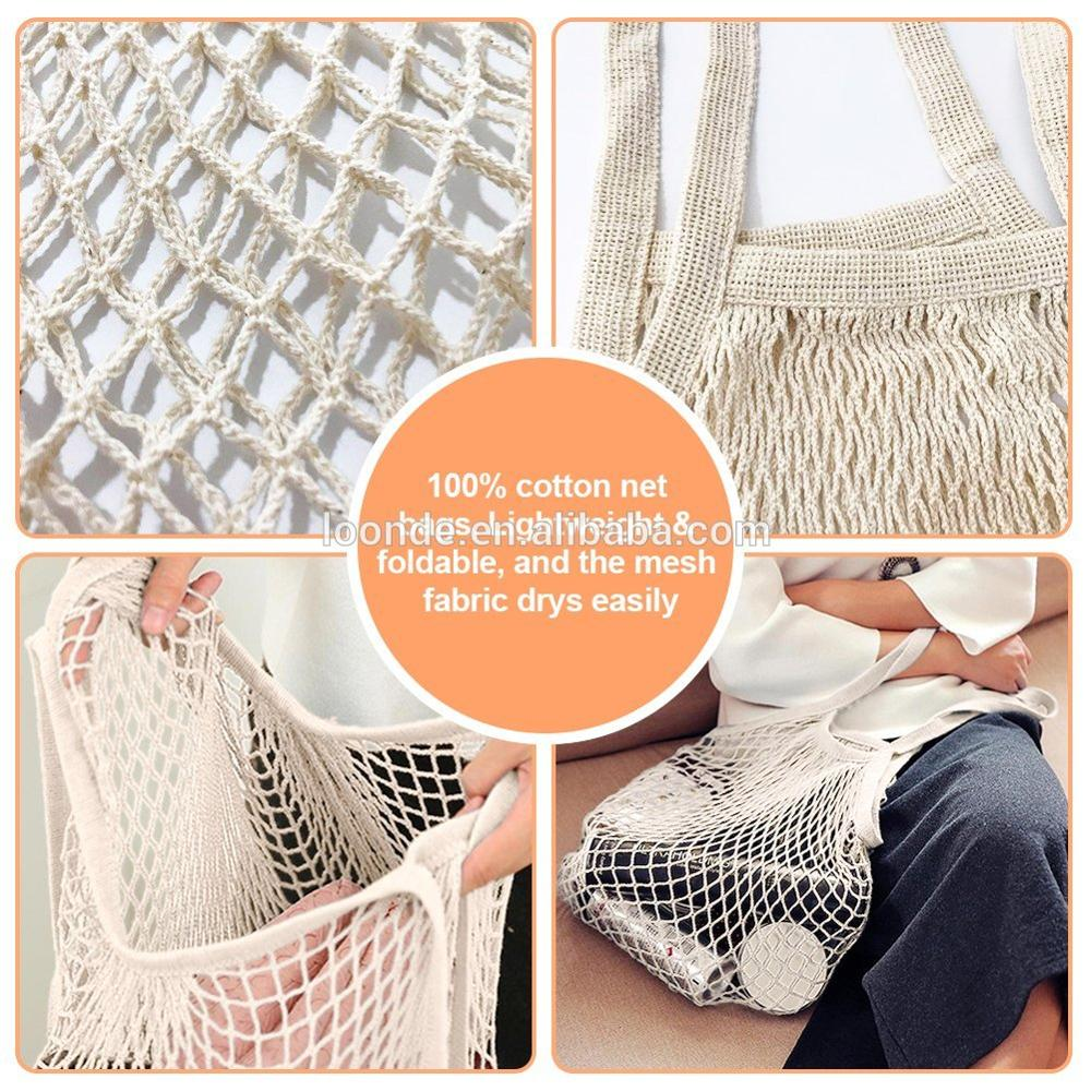 Cotton Net Shopping Tote, Reusable Grocery Mesh Produce Bag, Washable Market Beach Toy String Rope Storage Bags