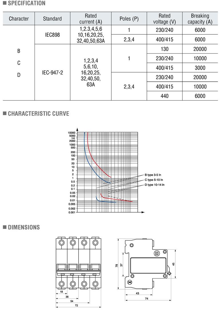 10000a Miniature Circuit Breaker C65 Type 6000a Mcb Circuit ...