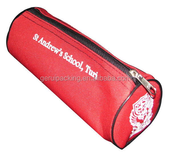 600D Red colour Promotional Red Oxford Polyester Pencil Bag
