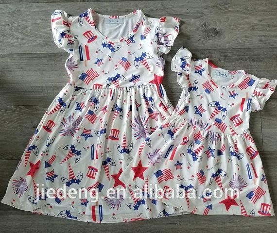 21ed940076cbe Baby Girls Ruffle Sleeve Patriotic 4th Of July Dress of Unicorn Toddler  Kids Clothes