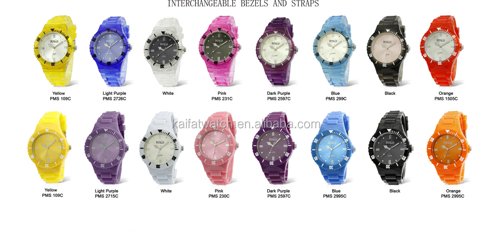 Alibaba Hot Products Geneva Interchangeable Jelly Silicone Strap Watch