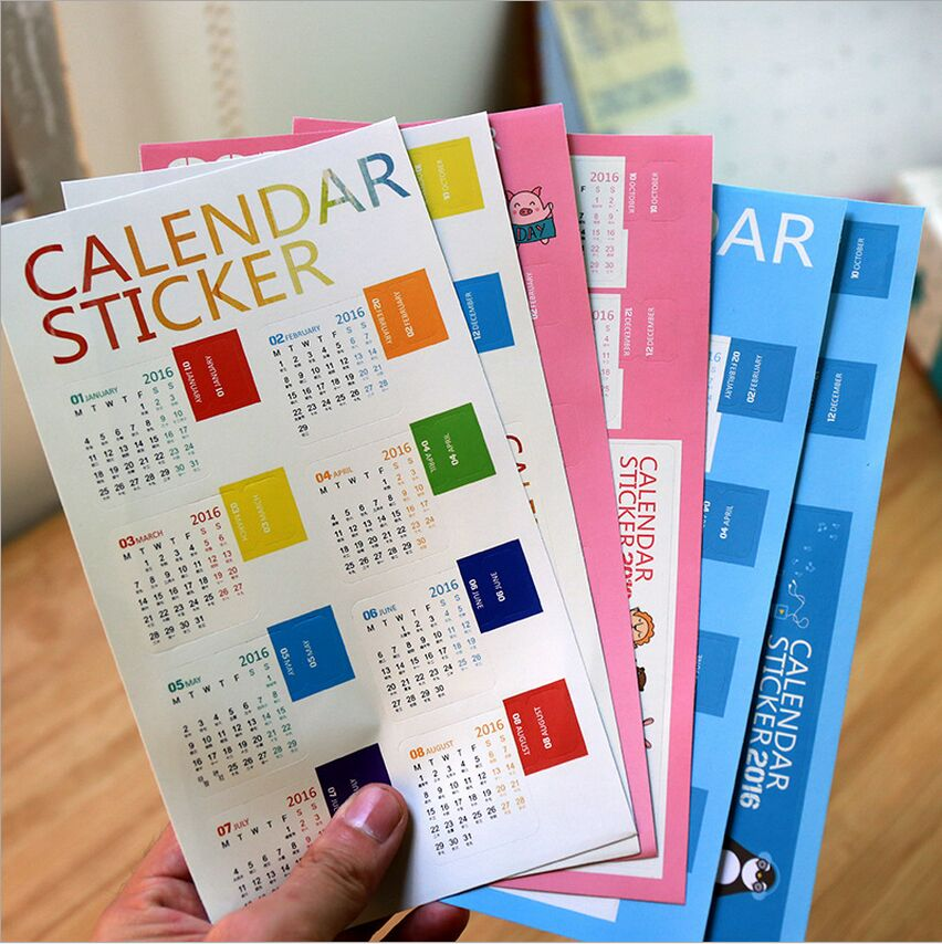 3 Styles Creative Year 2016 Mini Calendar Stickers Decorative Diary Stickers Index Lable Sticker DIY Rainbow