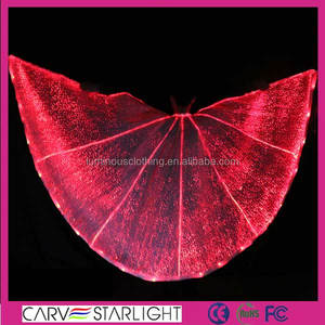 Glowing fiber optic fabric belly dance isis angel wing YQ-59