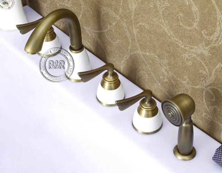 Freeshipping עתיק אמבטיה ברז אמבטיה פליז מיקסר שלוש ידיות חמישה חורים שטח רכוב ברז היי-681