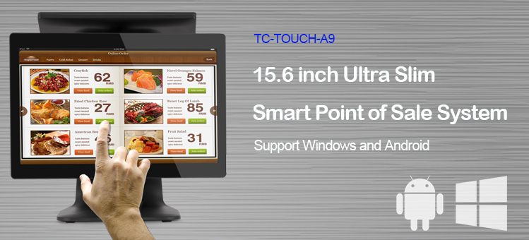 Android POS system 15.6 touch screen display pos machine with fingerprint identification