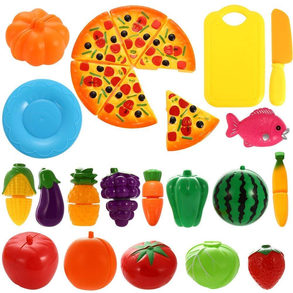 AlexBasic Kitchen Play Food Toys Cutting Fruits Vegetables Pretend Food Play Set Educational Toy Accessories Boys Girls Toddlers 24 pcs Set