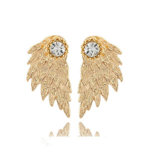 LTS048 Yiwu Huilin Jewelry Vintage Three Dimensional Angel Wings Ear Studs The Feather Inserts The Diamond Alloy For Gift