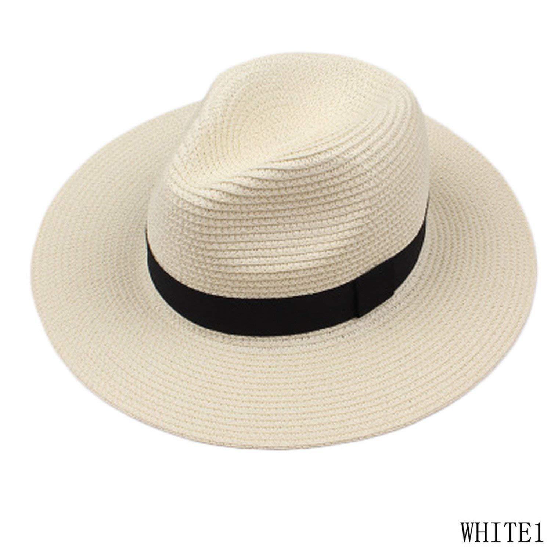 cd027d86f32 Get Quotations · Novel New Fashion Summer Straw Men s Sun Hats Trilby  Gangster Cap Summer Beach Cap Panama Hat