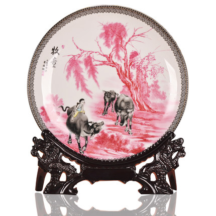 Chinese village painting design wonderful custom decorative plate