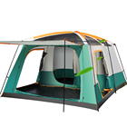 3 Rooms Doors Large Family Tent For 12 Person 4 Season Luxury Big Hiking Camping Waterproof 4*3 Meter Green Color Tent House