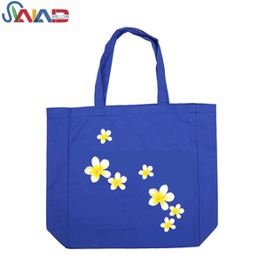 Custom printed blue canvas shopping beach tote bag with logo wholesale