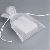 Plain white chinese organza bag in packaging
