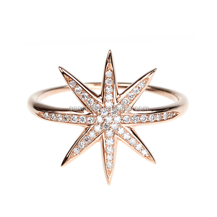 White star diamond ring solid 925 sterling silver ring gold finger ring